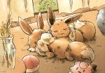 ball character_doll clefairy closed_eyes commentary_request curtains eevee fur gen_1_pokemon indoors jar lying matsuri_(matsuike) no_humans on_stomach poke_ball pokemon pokemon_(creature) rug sleeping wheat