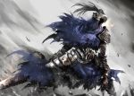 1boy arm_at_side armor artorias_the_abysswalker cape commentary_request dark_souls facing_viewer full_armor gauntlets grey_background helmet highres holding holding_sword holding_weapon knight legs_apart looking_to_the_side male_focus pauldrons plume shimoda_masaya shoulder_armor solo souls_(from_software) sword torn_cape torn_clothes weapon