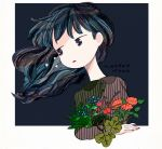 1girl backlighting bangs blue_eyes blue_hair border collared_shirt dark_background dark_blue_hair dress_shirt elbow_rest floating_hair flower gradient_eyes grey_border grey_shirt jitome lipstick long_hair long_neck long_sleeves looking_away looking_to_the_side makeup matsuo_mono mixed_media multicolored multicolored_eyes nail_polish no_eyebrows no_nose original outside_border parted_lips red_flower red_lipstick red_nails shirt signature simple_background star_(symbol) striped striped_shirt swept_bangs symbol_commentary upper_body vertical-striped_shirt vertical_stripes