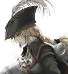 1girl absurdres bangs blonde_hair bloodborne breasts brown_headwear collared_cloak commentary_request cravat expressionless from_side green_eyes grey_background hair_ornament hat hat_feather highres lady_maria_of_the_astral_clocktower long_hair long_sleeves medium_breasts ponytail shimoda_masaya solo tricorne two-tone_background upper_body white_background