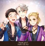 3boys ^_^ black_hair blonde_hair blue_eyes closed_eyes collared_shirt copyright_name cross cross_necklace english_text eyeshadow eyewear_removed green_eyes grin hand_on_another's_shoulder jewelry katsuki_yuuri makeup male_focus multiple_boys necklace open_mouth ring shirt silver_hair smile sunglasses twc_(p-towaco) v viktor_nikiforov yuri!!!_on_ice yuri_plisetsky
