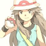 1girl aqua_shirt bag bare_shoulders black_wristband brown_hair bucket_hat closed_mouth commentary_request eyelashes hand_up hat holding holding_poke_ball leaf_(pokemon) long_hair matsuri_(matsuike) poke_ball poke_ball_(basic) pokemon pokemon_(game) pokemon_frlg shirt shoulder_bag sidelocks simple_background sleeveless sleeveless_shirt smile solo white_headwear wristband yellow_bag