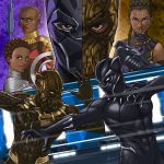 2boys 3girls animal_ears azusa_tanaka battle beard black_hair black_panther black_panther_(film) black_panther_(marvel) bodysuit breasts cat_ears character_request claws dark_skin dark_skinned_male duel facial_hair fighting holding holding_jewelry holding_necklace jewelry killmonger marvel medium_breasts multiple_boys multiple_girls necklace panther superhero t'challa very_dark_skin