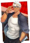 1boy alternate_costume archer bara brown_eyes chest dark_skin dark_skinned_male fate/grand_order fate/stay_night fate_(series) glasses highres kuro_(shiranui) looking_at_viewer male_focus muscle pants pectorals short_hair smile solo summer_casual_(fate/grand_order) tank_top white_hair