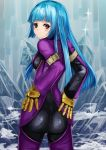 1girl blue_hair blush bodysuit breasts chaps closed_mouth gloves highres ice kula_diamond latex_bodysuit long_hair looking_at_viewer red_eyes sideboob solo the_king_of_fighters