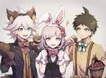 1girl 2boys ahoge animal_ears asuna_(doruru-mon) bangs black_jacket blunt_bangs bow breasts brown_fur danganronpa eyebrows_visible_through_hair fake_animal_ears fake_tail flipped_hair food fork fruit gloves hair_between_eyes halloween_costume hands_up highres hinata_hajime holding holding_food holding_fork holding_fruit holding_knife jacket knife komaeda_nagito light_brown_hair long_sleeves looking_at_another looking_at_viewer medium_breasts medium_hair multiple_boys nanami_chiaki open_clothes open_jacket open_mouth paw_gloves paws polka_dot rabbit_ears red_bow shirt short_hair sparkle striped striped_shirt super_danganronpa_2 suspenders tail upper_body upper_teeth white_gloves wolf_ears yellow_shirt