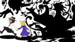 2girls animal_ears butcher_knife cat dress fleeing hands hat holding holding_clothes holding_hands holding_hat ice ice_wings instrument kazuki_(stars127) knife maribel_hearn mob_cap monster multiple_girls purple_dress rabbit_ears scythe shadow single_hand touhou trumpet usami_renko wings