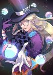 1boy artist_name avery_(pokemon) black_headwear blonde_hair blue_eyes collared_shirt commentary_request dolustoy dynamax_band eyelashes floating_hair glasses gloves grey-framed_eyewear hands_up hat hat_ribbon highres long_hair looking_at_viewer male_focus multicolored_shirt parted_lips poke_ball poke_ball_(basic) pokemon pokemon_(game) pokemon_swsh ribbon round_eyewear shirt sidelocks single_glove solo telekinesis top_hat