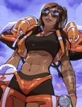 1girl abs alternate_costume alternate_hairstyle arm_tattoo armor aviator_sunglasses black_swimsuit breasts brown_hair can chest_tattoo clouds cloudy_sky commentary dark_skin day english_commentary eye_of_horus facial_tattoo from_below glasses hair_tubes headwear_removed helmet helmet_removed life_vest lifeguard_pharah lips long_hair medium_breasts navel opaque_glasses open_clothes open_vest overwatch pharah_(overwatch) ponytail shorts shoulder_armor sky soda_can solo sunglasses swimsuit tankini tattoo toned vashperado vest wet whistle whistle_around_neck