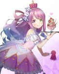 1girl :p absurdres candy_hair_ornament commentary_request crown dress food food_themed_hair_ornament fork hair_ornament hair_rings heterochromia highres himemori_luna hololive long_hair looking_at_viewer octopus parfait pink_hair plate simple_background solo tongue tongue_out