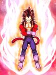 1boy black_hair blue_eyes crossed_arms dragon_ball dragon_ball_gt full_body fur gloves grin highres looking_at_viewer male_focus mattari_illust monkey_tail muscle pants smile solo spiky_hair super_saiyan super_saiyan_4 tail white_footwear white_gloves
