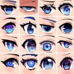 blue_eyes close-up dayshiart eyes heart heart-shaped_pupils highres looking_at_viewer looking_up multiple_style_parody multiple_views original pixel_art symbol-shaped_pupils v-shaped_eyebrows