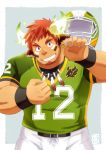 1boy animal_ears bara brown_hair chest ei_(bara_artist) facial_hair feathers forked_eyebrows glowing_horns goatee headwear_removed helmet helmet_removed horns looking_at_viewer male_focus manly muscle native_american rugby_uniform short_hair smile solo sportswear thick_eyebrows tokyo_houkago_summoners upper_body wakan_tanka