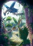 absurdres arch commentary_request day foliage fountain gen_3_pokemon highres huge_filesize kecleon latias latios legendary_pokemon legna_(legna_161cm) looking_down looking_up no_humans open_mouth orange_eyes outdoors plant pokemon pokemon_(creature) red_eyes smile swablu tongue tropius vines water watermark