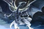 blue-eyes_white_dragon claws clouds cloudy_sky commentary dragon duel_monster labombardier! moon no_humans sky tail wings yuu-gi-ou