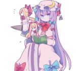 1girl artist_name blonde_hair blue_bow blue_eyes book bow bright_pupils commentary cosmicmind crescent crescent_moon_pin dress hair_bow hat hat_bow holding holding_book long_hair long_sleeves mob_cap patchouli_knowledge pink_dress pink_headwear purple_hair red_bow shanghai_doll simple_background sitting solo touhou white_background white_pupils