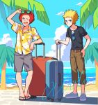 2boys afro belt black-framed_eyewear black_footwear black_shirt blonde_hair blue_eyes brown_belt brown_pants buttons capri_pants clouds collared_shirt commentary_request day flint_(pokemon) floral_print grey_shorts holding kurochiroko looking_up male_focus multiple_boys one_eye_closed open_mouth outdoors palm_tree pants pokemon pokemon_(game) pokemon_dppt redhead sand sandals shirt shoes shore short_sleeves shorts sky spiky_hair standing suitcase sunglasses t-shirt teeth toes tongue tree tropical upper_teeth volkner_(pokemon) water