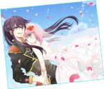 1boy 1girl black_hair blush bridal_veil dress estellise_sidos_heurassein flower green_eyes hair_flower hair_ornament long_hair noahsa-ark open_mouth petals pink_hair short_hair smirk tales_of_(series) tales_of_vesperia v-neck veil violet_eyes wedding_dress yuri_lowell
