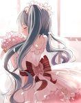 1girl back blush bouquet bow bride closed_eyes dress flower frills hatsune_miku highres petals ribbon rose smile standing twintails vocaloid wedding wedding_dress white_dress yep_(15238675)