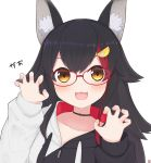 1girl :3 :d absurdres animal_ear_fluff animal_ears bangs black_choker black_hair choker claw_pose fingernails fingers glasses hair_between_eyes highres hololive jacket looking_at_viewer multicolored_hair nanamiya_natsumi onomatopoeia ookami_mio open_mouth red-framed_eyewear signature simple_background smile solo streaked_hair upper_body virtual_youtuber white_background wolf_ears wolf_girl