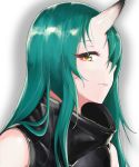 1girl absurdres arknights black_jacket brown_eyes closed_mouth eyebrows_visible_through_hair green_hair highres hood hood_down horns hoshiguma_(arknights) huge_filesize jacket long_hair looking_at_viewer one_eye_covered open_eyes saett single_horn solo_focus white_background