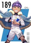 1boy artist_name collared_shirt commentary_request dark_skin dark_skinned_male dolustoy dynamax_band eyelashes fingernails fur-trimmed_jacket fur_trim gloves highres hop_(pokemon) jacket looking_at_viewer looking_down male_focus number partly_fingerless_gloves pokemon pokemon_(game) pokemon_swsh purple_hair shirt short_hair shorts single_glove smile solo teeth yellow_eyes
