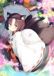 1girl animal_ear_fluff animal_ears bangs black_hair blurry blurry_background blush bow closed_mouth commentary_request day depth_of_field eyebrows_visible_through_hair fox_ears fox_girl fox_tail from_above hakama japanese_clothes kamizaki_hibana kimono kitsune long_sleeves looking_at_viewer looking_up miko multiple_tails original outdoors parted_bangs petals red_bow red_eyes red_hakama reflection ribbon-trimmed_sleeves ribbon_trim ripples short_hair sleeves_past_fingers sleeves_past_wrists smile solo tail torii water white_kimono wide_sleeves