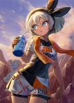1girl :o bangs bea_(pokemon) black_hairband black_ribbon blue_eyes clothes_writing clouds covered_navel cowboy_shot crop_top day gen_1_pokemon gloves hair_between_eyes hair_ribbon hairband highres holding kuroi_susumu looking_away looking_to_the_side machop orange_gloves outdoors parted_lips pokemon pokemon_(creature) pokemon_(game) pokemon_swsh ribbon rock short_hair short_shorts short_sleeves shorts silver_hair single_glove skin_tight solo towel towel_around_neck white_shorts
