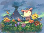 :3 closed_eyes closed_mouth clouds commentary_request flower gen_3_pokemon no_humans orange_flower outdoors petals pokemon pokemon_(creature) sen_pic silhouette skitty sky smile volcano yellow_flower