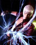 1boy blue_eyes coat dante_(devil_may_cry) devil_may_cry devil_may_cry_3 ebony_&_ivory electric_guitar electricity fingerless_gloves gloves guitar highres instrument looking_at_viewer music nevan_(weapon) official_art playing_instrument red_coat solo white_hair