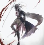 1girl ascot black_coat blonde_hair blood bloodborne bloody_clothes boots brown_cape brown_footwear brown_gloves cape coat double-blade facing_viewer full_body gloves gradient gradient_background grey_background gun hat hat_feather highres holding holding_gun holding_sword holding_weapon itsuki_(itsukiovo) lady_maria_of_the_astral_clocktower long_hair looking_down pants ponytail rakuyo_(bloodborne) solo striped striped_pants sword torn_clothes torn_coat tricorne weapon