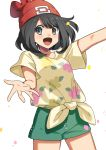 1girl absurdres beanie blush breasts commentary_request eyebrows_visible_through_hair eyelashes floral_print green_shorts grey_eyes hat highres medium_hair open_mouth petals pokemon pokemon_(game) pokemon_sm red_headwear selene_(pokemon) shirt short_shorts short_sleeves shorts solo spread_fingers t-shirt tied_shirt tongue white_background yuihico