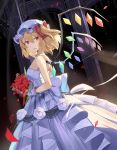 1girl arch bare_shoulders blonde_hair bouquet choker cowboy_shot dress dutch_angle eyebrows_visible_through_hair flandre_scarlet flower gloves hat highres looking_at_viewer looking_to_the_side mob_cap one_side_up open_mouth petals red_eyes red_flower rin_falcon solo strapless strapless_dress touhou waist_bow wedding_dress white_choker white_dress white_gloves white_headwear wings