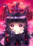 1girl akaishi_kuroe bangs black_hair close-up cover cover_page hair_horns hands_on_own_face heart heart-shaped_pupils kaijuu looking_at_viewer manga_cover naki_ringo official_art otome_kaijuu_carameliser red_eyes symbol-shaped_pupils