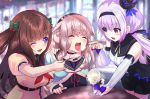 .live 3girls absurdres animal_ears blurry blurry_background brown_hair carro_pino commentary_request feeding force_feeding highres kakyouin_chieri lavender_hair long_hair mokota_mememe multiple_girls one_eye_closed open_mouth pink_hair school_uniform sheep_ears spoon table thick_eyebrows tooi_aoiro virtual_youtuber