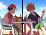 bangs baseball_cap black_hair blue_oak buttons capri_pants chair clouds commentary_request day drinking drinking_straw gen_1_pokemon glass hair_between_eyes hand_up hanging hat kurochiroko on_chair open_mouth orange_hair outdoors pants pikachu pokemon pokemon_(creature) pokemon_(game) pokemon_sm profile red_(pokemon) shirt short_sleeves sitting sky spiky_hair sunglasses table teeth tongue
