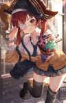 alternate_costume bag blush breasts chair eyepatch fingernails food hat highres hololive houshou_marine ice_cream leg_up looking_at_viewer necktie one_eye_closed pirate_hat pruding reaching_out redhead school_uniform table virtual_youtuber