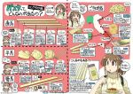 2girls backpack bag bangs blush breasts brown_eyes brown_hair closed_eyes eyebrows_visible_through_hair food fork hair_ribbon hat italy light_brown_hair long_hair long_sleeves low_twintails multiple_girls nagumo_(nagumon) open_mouth original pasta plate ponytail ribbed_sweater ribbon sailor_collar spaghetti sweater translation_request turtleneck turtleneck_sweater twintails twitter_username yellow_sweater