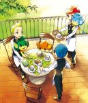 3boys apron biscuit_(bread) blue_hair book brown_footwear chair chili_(pokemon) cilan_(pokemon) commentary_request cress_(pokemon) cup gen_5_pokemon graphite_(medium) green_eyes green_hair holding holding_tray kurochiroko long_sleeves multiple_boys on_chair on_lap on_shoulder open_mouth panpour pansage pansear pants pokemon pokemon_(creature) pokemon_(game) pokemon_bw pokemon_on_lap pokemon_on_shoulder redhead saucer shoes table tongue traditional_media tray vest waist_apron