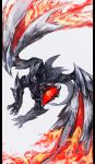 dragon fire grey_background highres labombardier! monster monster_hunter monster_hunter_xx no_humans open_mouth scales simple_background talons tongue valstrax