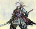 1boy armor black_gloves check_weapon fingerless_gloves gloves green_eyes hair_between_eyes holding holding_sword holding_weapon japanese_armor labombardier! long_hair male_focus mask mouth_mask ootachi painterly ponytail samurai samurai_spirits solo sword weapon white_hair yashamaru_kurama