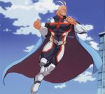 1boy all_might antenna_hair bara blonde_hair blue_eyes bodysuit boku_no_hero_academia cape chest clouds cloudy_sky covered_abs flying full_body hair_slicked_back highres male_focus messy_hair muscle short_hair sky stormcallart thick_thighs thighs