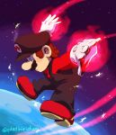 alternate_costume blue_eyes boots brown_hair facial_hair flying gloves glowing_hands highres mario mario_(series) mustache outstretched_arms overalls platiniridium red_shirt shirt simple_background space super_mario_bros. super_smash_bros. white_gloves
