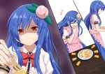 +++ 1girl apron blue_hair blue_skirt bow bowtie closed_eyes commentary_request feeding food food_themed_hair_ornament fork from_side fruit grimace hair_ornament hand_to_own_mouth hinanawi_tenshi holding holding_fork long_hair no_hat no_headwear peach peach_hair_ornament pink_apron plate pov puffy_short_sleeves puffy_sleeves red_eyes red_neckwear shaded_face shirt short_sleeves skirt solo split_screen sugiyama_ichirou tearing_up touhou very_long_hair wavy_mouth white_shirt