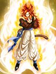 1boy aura black_footwear blue_eyes closed_mouth crossed_arms dragon_ball dragon_ball_gt full_body fur gogeta highres looking_at_viewer male_focus mattari_illust metamoran_vest monkey_tail muscle pants redhead smile solo spiky_hair super_saiyan super_saiyan_4 tail