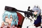 2girls anti-materiel_rifle apron bangs bat_wings blue_eyes blue_hair braid chair closed_mouth commentary_request cup dress eyebrows_visible_through_hair fingernails gloves greenkohgen grey_background gun hair_between_eyes hair_intakes holding holding_cup holding_gun holding_weapon izayoi_sakuya long_fingernails long_sleeves maid_headdress multiple_girls nail_polish no_hat no_headwear open_mouth pgm_hecate_ii pointy_ears red_eyes red_nails remilia_scarlet rifle short_hair silver_hair simple_background sniper_rifle sweat teacup touhou weapon white_apron white_gloves wings