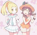 2girls bangs blonde_hair braid brown_hair closed_eyes closed_mouth commentary_request eyebrows_visible_through_hair eyelashes floral_print green_eyes hands_up hat kurochiroko lillie_(pokemon) looking_at_another multiple_girls open_mouth orange_headwear pleated_skirt pokemon pokemon_(game) pokemon_usum ponytail selene_(pokemon) short_sleeves shorts skirt teeth tongue twin_braids white_shorts