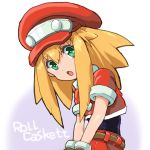 1girl blonde_hair cabbie_hat capcom character_name green_eyes hair_between_eyes hat head_tilt long_hair menome open_mouth red_headwear rockman rockman_dash roll_caskett short_sleeves simple_background solo upper_body