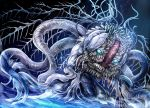 absurdres alien bloodborne blue_eyes commentary_request ebrietas_daughter_of_the_cosmos eldritch_abomination extra_arms highres monster no_humans sharp_teeth skeletal_wings slug solo teeth uro_(uroboros) water wings