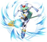 1girl android facing_viewer full_body green_hair helmet highres holding holding_weapon leg_up mizuno_keisuke official_art pandora_(rockman) red_eyes rockman rockman_x_dive rockman_zx solo staff transparent_background weapon
